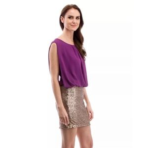 NWT MM Couture Purple And Gold Sequined Dress